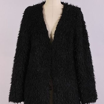 Shiloh Furry Jacket - Black