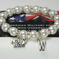 navy wife - deployment - united states navy - sailor - us navy - personalized gift - navy gift - monogram - wife gift - custom bracelet