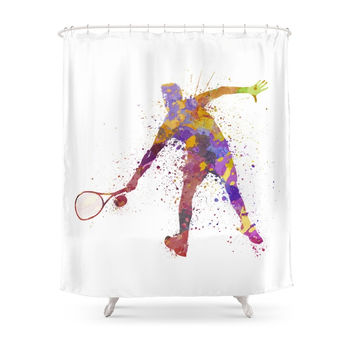 Society6 Tennis Player In Silhouette 02 Shower Curtain