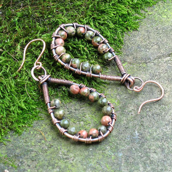 Copper & green beaded stone earrings