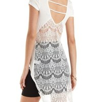 High-Low Tee with Caged Lace Back by Charlotte Russe