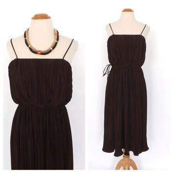 Vintage 1970s Lee Jordan Sun Dress Peasant Dress Pleated Brown Sundress Boho Folk Dres