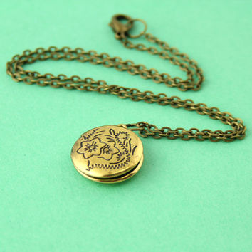 Personalized Locket Necklace - Custom Floral Locket in Silver or Gold