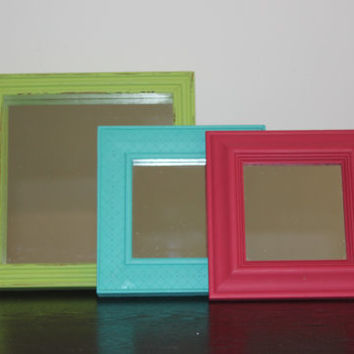 Colorful wall mirror set - Painted mirror, square mirror, neon mirrors, framed mirrors, multiple mirror display, upcycled mirrors