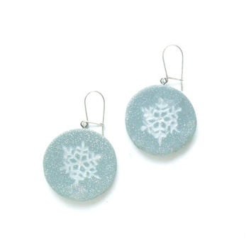 Snowflakes dangle circle earrings silver and white polymer clay festive earrings for the winter holiday season ooak Christmas