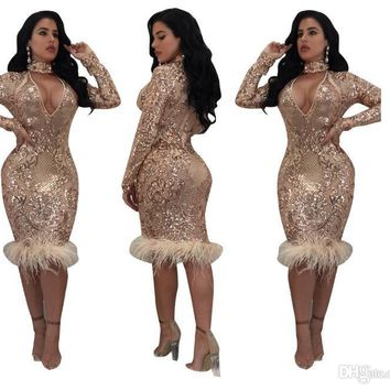 2018 Gamiss Bodycon Sheath Dress Long Sleeve Party Sexy Sequins Dresses Women Clothing Sexy Pencil Tight Dress Vestidos Free Del