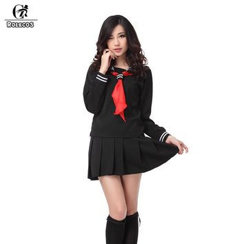 ROLECOS Brand New Anime Black Hell Girl Cosplay Costumes Japanese Sailor School Girl Uniforms Enma Ai Cosplay Costume Large Size