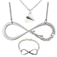 One Direction 3 Piece Jewelry Set. 'Directioner' Infinity Necklace, Bracelet and 'Harry' Plane in Silver Tone