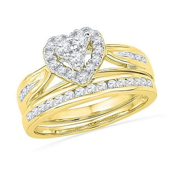 10kt Yellow Gold Women's Round Diamond Heart Bridal Wedding Engagement Ring Band Set 1/2 Cttw - FREE Shipping (US/CAN)