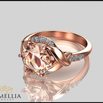 14K Rose Gold Morganite Ring,Gemstone Engagement ring,Leaf Ring,Wedding Ring,Promise Ring,Ladys Jewelry,Unique Engagment Ring.