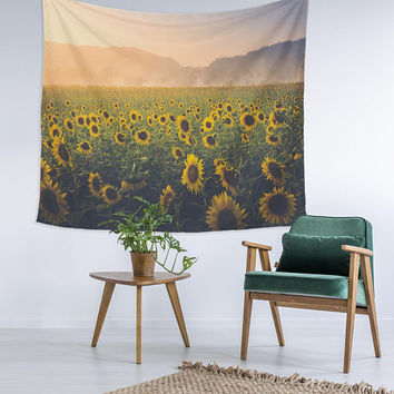 Sunflowers Field Trendy Home Decor Custom Printed Unique Dorm Decor Apartment Decor Trendy Wall Art Printed Wall Hanging Wall Tapestry