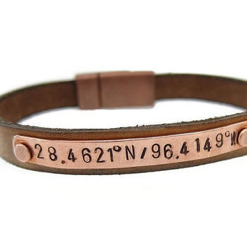 Personalized Men's Leather Coordinate bracelet, Latitude & Longitude Leather Bracelet, Custom Coordinates, Anniversary Bracelet, men's gift