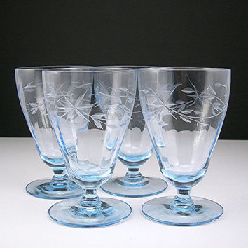 "Ice Blue Glass Cordial Goblets, Cut Design, Paneled Optic, Vintage c1940s, 4-1/4 Tall"" Holds 6 oz, Set of 4 Barware Glasses"