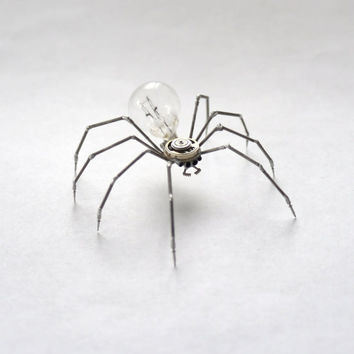 Clockwork Spider Sculpture No 34 Recycled Watch Parts Mechanical Arachnid Figurine Stems Lightbulb Arthropod A Mechanical Mind Gershenson