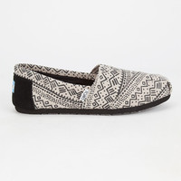 Toms Womens Printed Wool Classic Slip-Ons Black  In Sizes