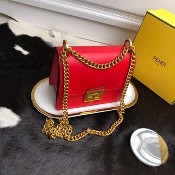 Kuyou Gb99822 Fendi 01181 Kan U Envelope Chain Flap Bag In Red Smooth Leather 19*9*15cm