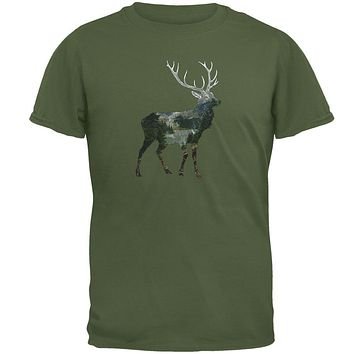 Deer Forest Nature Hiking Hunting Mens T Shirt