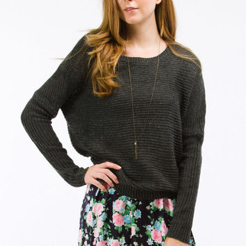 Grey Knit Fisherman's Pullover Sweater