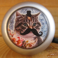 $16.00 bike bell cat with moustache by SpokeNWheel on Etsy