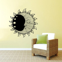 Wall Decal Vinyl Sticker Decals Art Home Decor Design Murals Sun Moon Crescent Dual Ethnic Stars Night Symbol Sunshine Fashion Bedroom AN1