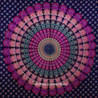 Vibrant Rainbow Classic Medallion Mandala Wall Tapestry, Hippie Bedspread - RoyalFurnish.com