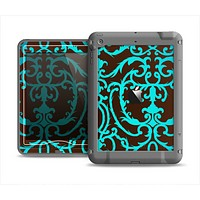 The Blue and Brown Elegant Lace Pattern Apple iPad Mini LifeProof Nuud Case Skin Set