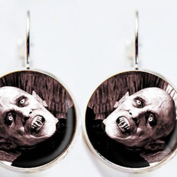Nosferatu In Coffin Earrings - Classic Horror Movie Jewelry