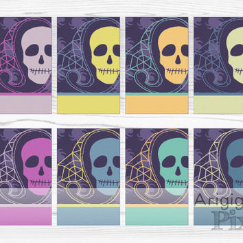 Halloween hang tags, skull gift tag, printable, skull inside paisley, spider patterned, set of 8 tags, dark purple, indigo, instant download