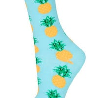 Turquoise Pineapple Ankle Sock - Tights & Socks  - Clothing