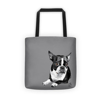 Boston Terrier Tote Bag, Dog Lover, Custom Color, Vector Art, Great for Market Shopping Beach or Pet Owner Gift