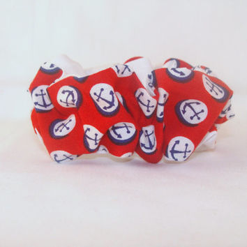 80s Hair Scrunchies Red with Blue Anchors Reversible with White 80s hair accessory