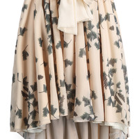 Apricot Leaves Print High Low Pleated Skirt - Sheinside.com