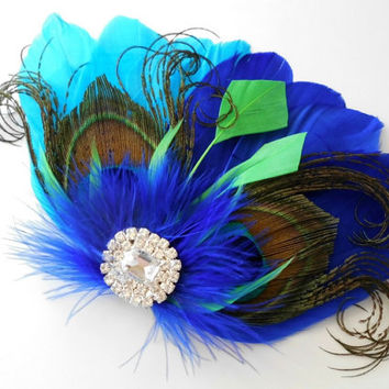 Prom Bridesmaid Feather Hair Accessory, Feather Fascinator, Bridal, Hair PIece, Peacock, Royal Blue,Green, Turquiose Feather, Hair Clip
