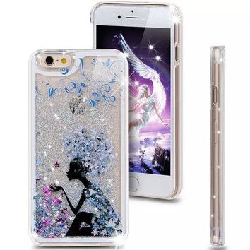 PEAPUNT Liquid Glitter Phone Case for Iphone 5 5S (Lady in Blue)