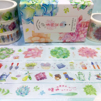4 Rolls Succulent plant washi tape cute plant fat plant Green plant potted plant Masking tape plant diary gardening planner scrapbook decor
