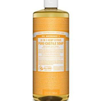 Dr. Bronner's Magic Soaps 18-In-1 Hemp Citrus Orange Pure Castille Soap, 32-Ounce Bottle