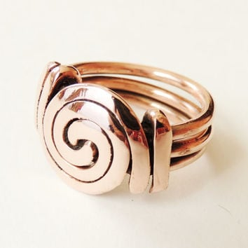 Spiral - ring copper wire spiral - polished copper wire - handmade -