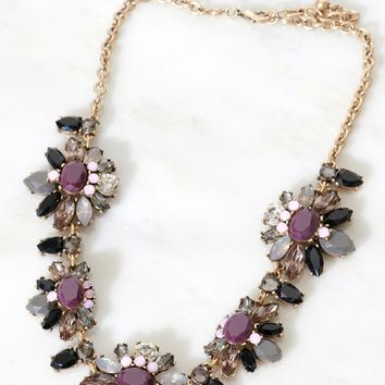 Flower Shaped Stone Necklace Purple/ Grey