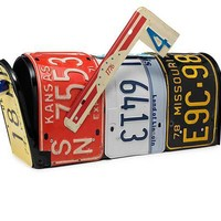 LICENSE PLATE MAILBOX | Recycled Handmade Mailbox From Vintage License Plates by Aaron Foster | UncommonGoods