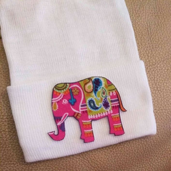 Pink Colorful Elephant Newborn Hospital Hat! 1st Keepsake! 1st Hat! Great Gift! Super Cute! Great Photo Prop  For Baby Girl