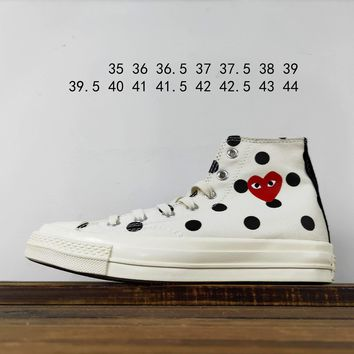 Kuyou Fa19630 Cdg X Converse Chuck Taylor 70s Hi/ox 18ss8 White High Top Canvas Shoes
