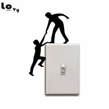 Creative Climbing Light Switch Sticker Funny Helping Hands Wall stickers/ Decal