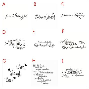 Vinyl English Letters Wall Sticker Inspirational Quotes Art Decor