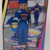 Mattel Barbie Doll 50th Anniversary NASCAR Collector Edition Uniform Stand NIB