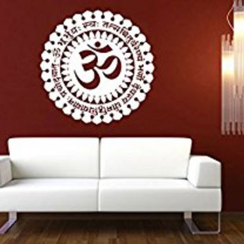 Wall Decal Vinyl Sticker Decals Art Decor Design Mandala Sumbol Ohm Om Mantra Ornament Indidan Yoga studio Buddha Shiva God Bedroom (r675)