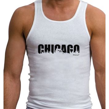 Chicago Skyline Cutout Mens Ribbed Tank Top by TooLoud