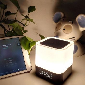 NEW Bluetooth 4.0 Speaker with Bedroom Table Lamp Night LED Light for Kids Alarm