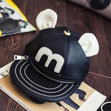 Cool Backpack school 3D Mickey Minnie Ear Hat Shape Back Packs Personalized Cartoon Buns Shoulder Bag Punk Street Style Cool Girl Leather Small Packs AT_52_3