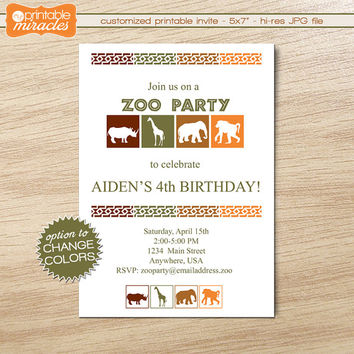 Zoo Birthday Invitation, Printable safari party invite + thank you card, Kids African jungle party invitations, Custom zoo party invites