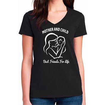 New Mom Shirt, Mother and Child Best Friends For Life Womens V-Neck Tee